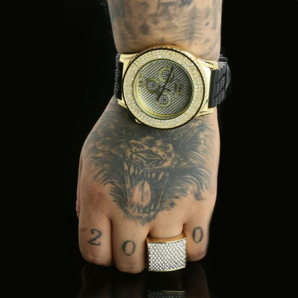 14k Gold PT Huge Boss Pimp Ring Iced / Techno Watch