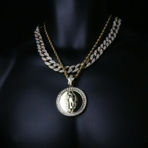 "VIRGIN MARY Pendant W/20"" Cuban/Rope link"