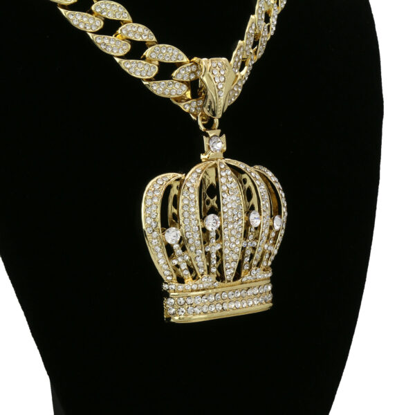 """14k Gold Plated Crown Pendant w/18"""" Fully CZ Cuban Chain Set"""