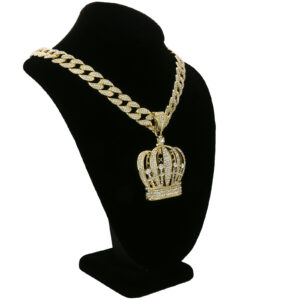 14k Gold Plated Crown Pendant w/18