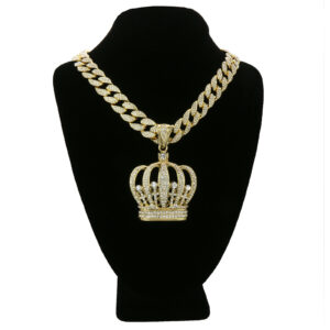 "14k Gold Plated Crown Pendant w/18"" Fully CZ Cuban Chain Set"
