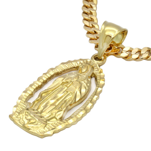 "18k Gold Plated Virgin Mary Pendant w/24"" Cuban Link"
