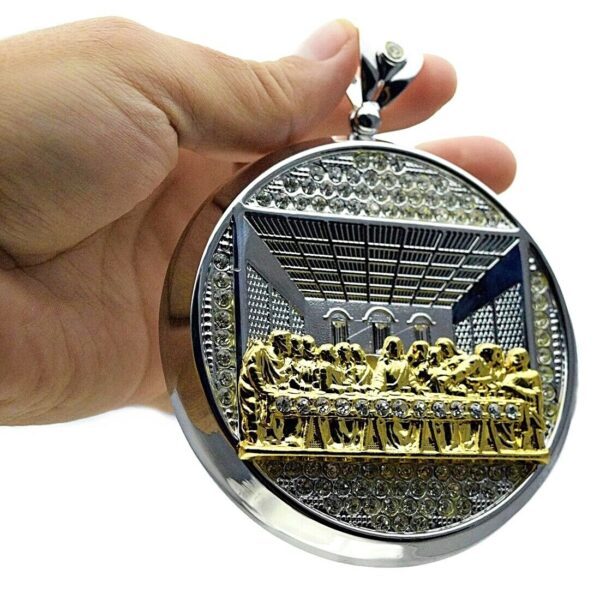 Huge Last Supper Pendant 2-Tone Silver with Gold