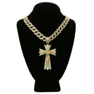 "14k Gold Plated Jesus Big Cross Pendant w/18"" Fully CZ Cuban Chain"