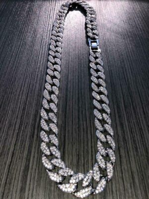 Iced out Miami Cuban Link Chain 14k Rhodium Finish