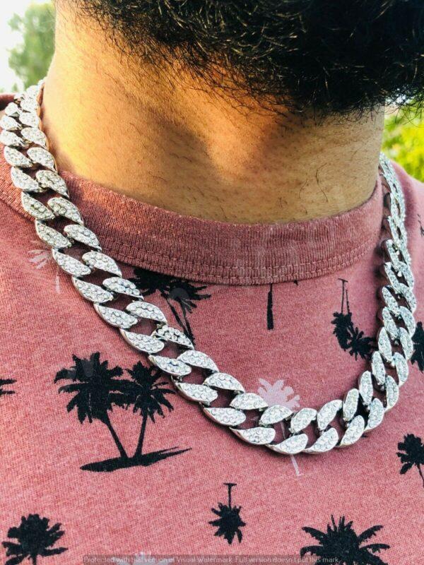 Miami 22in Cuban Link Choker White Silver