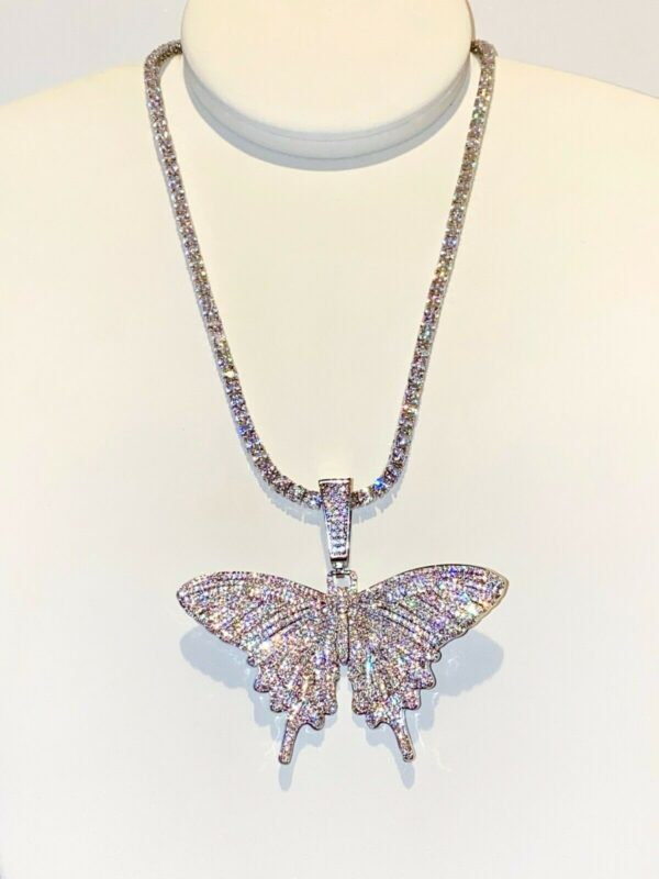 Iced Out Tennis Link Big Butterfly Charm Pendant
