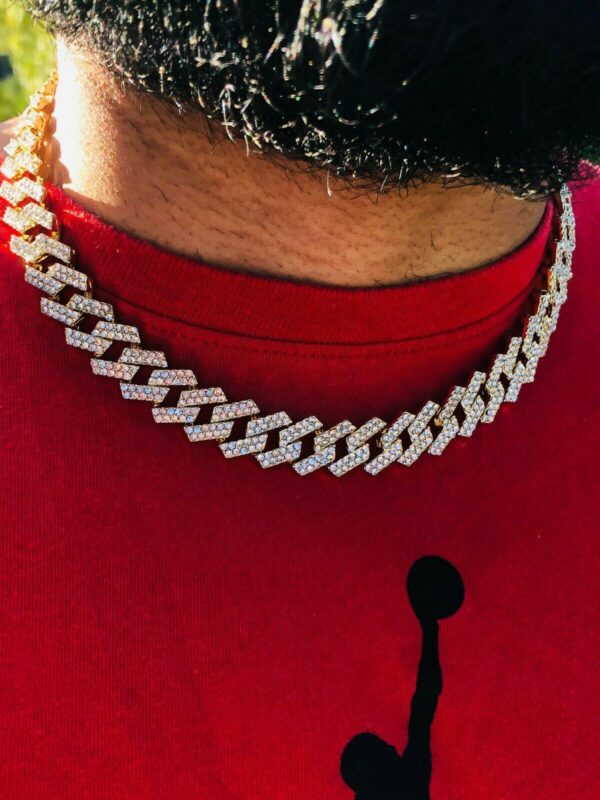 Miami Curb Cuban Link Choker Iced Out 14k Gold Plated