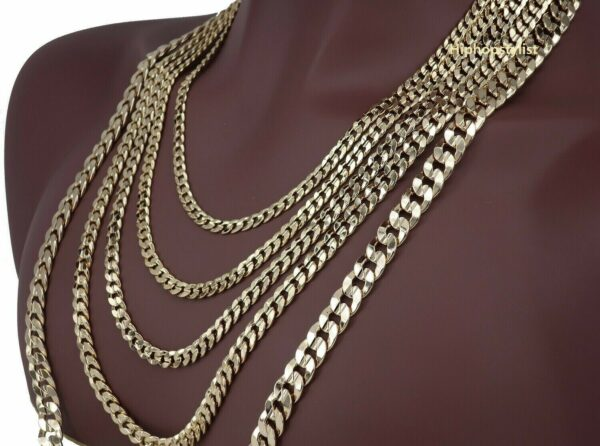 Mens 14K Concave Cuban link Chain Necklace Bracelet 5mm to 10mm Gold Plated