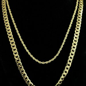 "2pc Set 24"" 30"" Cuban/Rope Chains 14k Gold Plated"