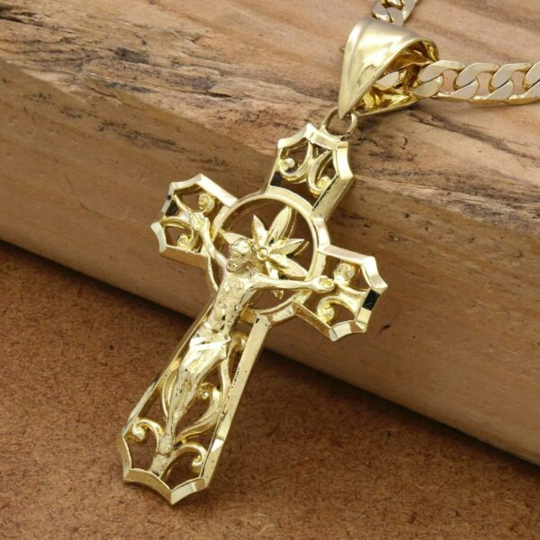 "18k Gold Plated Jesus Piece w/24"" Cuban Link"