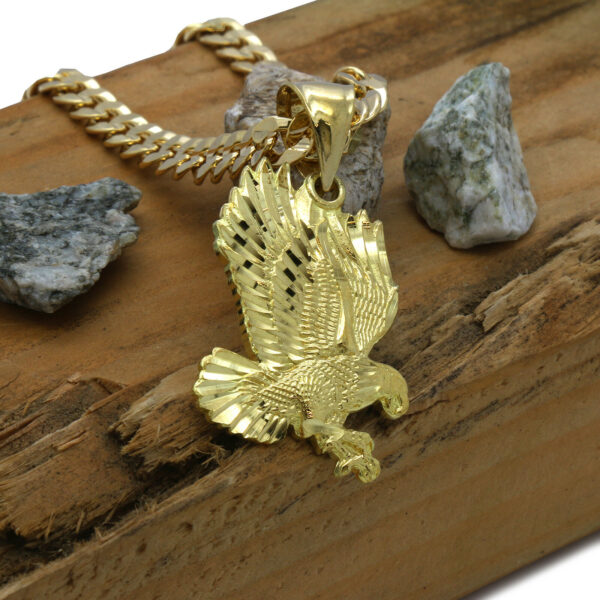 "18k Gold Plated Eagle Pendant w/30"" Cuban Link Chain"