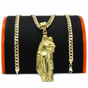 "18k Gold Plated MARY & BABY JESUS w/24"" Cuban Chain"