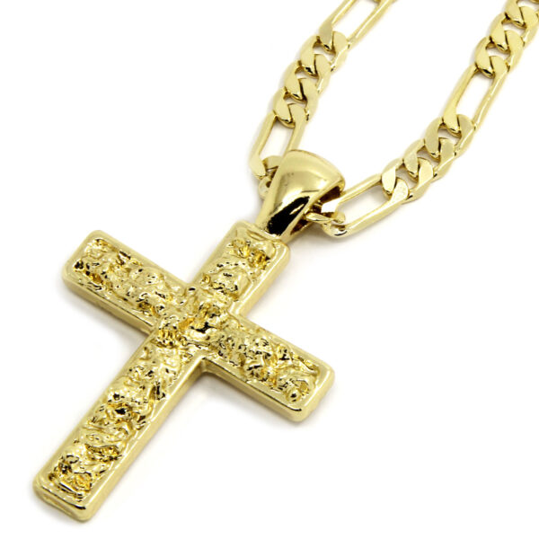 "14K Gold Plated Nugget Cross Pendant w/24"" Figaro Chain"