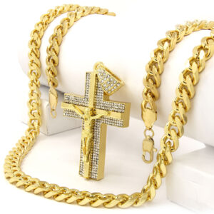 "Iced Out Jesus Cross Pendant w/30"" Cuban Chain"