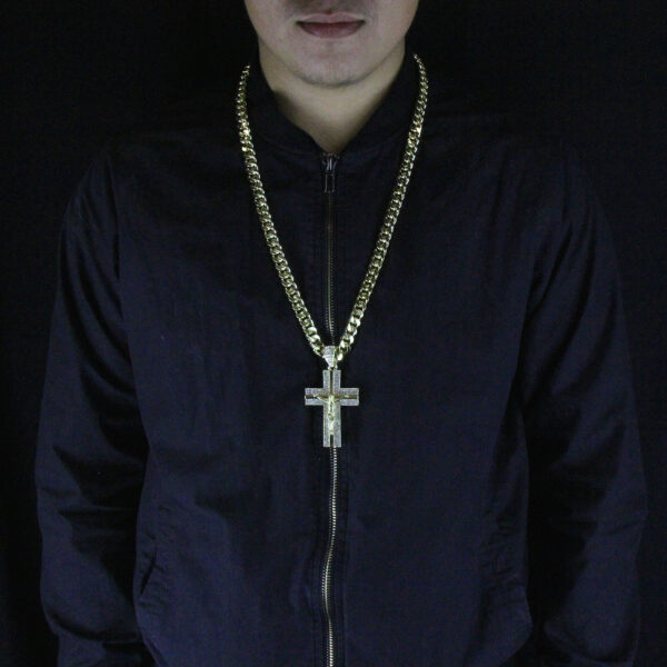 "Iced Out Jesus Cross Pendant w/30"" Cuban Chain"