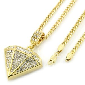 "Iced Out D-Shape Pendant w/30"" Cuban Link"