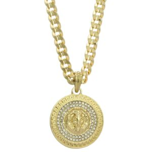 "Iced Out Round LION MEDALLION w/24"" Cuban Link"