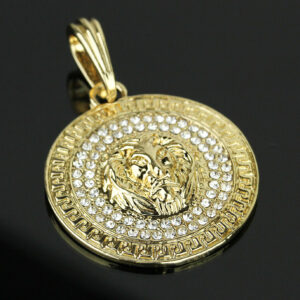 Iced Out Round LION MEDALLION w/24