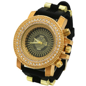 Gold Black Iced Out Silicone Quartz Wrist Watch