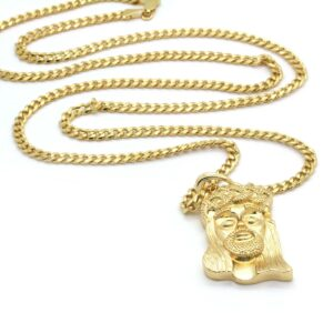 "14k Gold Plated Jesus Piece w/30"" Cuban Link"