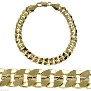Miami Curb Cuban Link 9mm Bracelet 14k Gold Plated