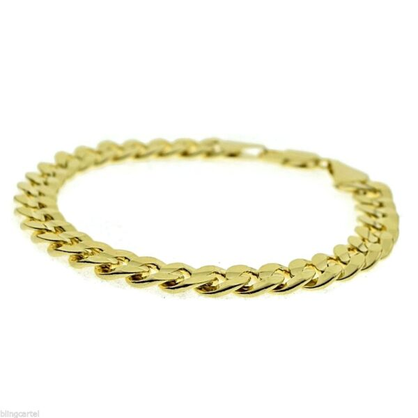 Miami Curb Cuban Link 9mm Bracelet 14k Gold Plated