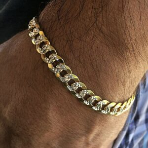 Diamond Cut Bracelet 14K Gold Plated Cuban