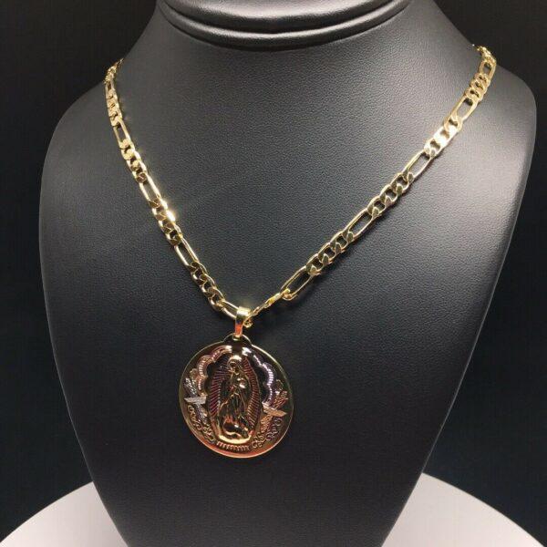 "Virgen Guadalupe Pendant w/26"" Figaro"