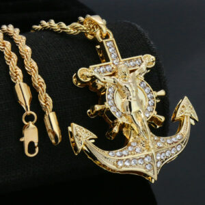 "Anchor Cross Pendant w/24"" Rope Chain"