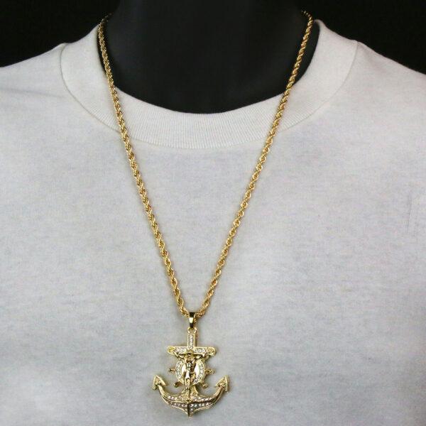 "Anchor Cross Pendant w/24"" Rope Chain"