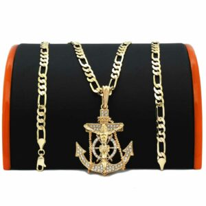 "Anchor Cross Pendant w/24"" Figaro Chain"