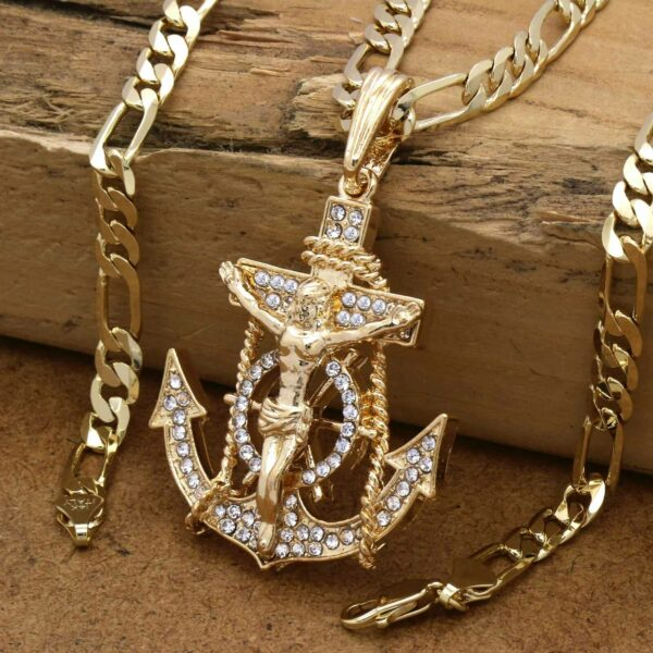 "Anchor Cross Pendant w/24"" Figaro Chain"
