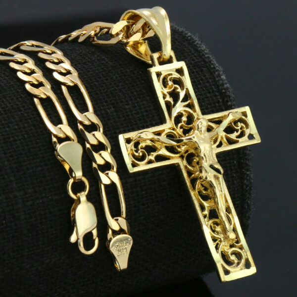 "JESUS CROSS CRUCIFIX w/18"" Figaro Chain"