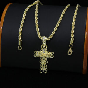 "Clover Edge Jesus Cross w/24"" Rope Chain"