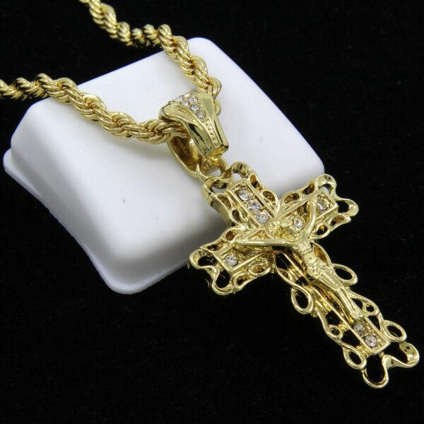"Clover Edge Jesus Cross w/24"" Rope Chain"