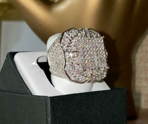 Iced Out 2.5ct 14k White Gold Pinky Ring