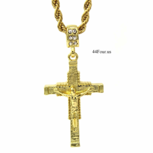 "Jesus Cross Pendant w/4mm 24"" Rope Chain"