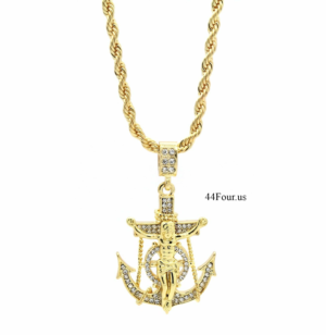 "Anchor Hook Cross Pendant w/24"" Rope Chain"