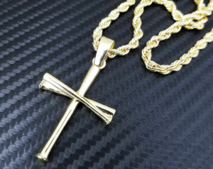 "Baseball Triple Bat Cross w/24"" Rope Chain"