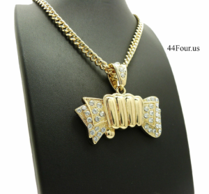 "MONEY GRAB PENDANT w/24"" CUBAN CHAIN"