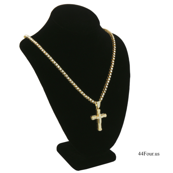 Iced Out TENNIS Chain Double Cross Pendant