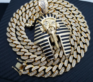 "Egyptian Pharaoh Pendant w/12mm 30"" Cuban Link"