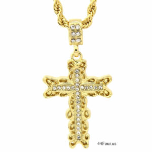 "Men's Iced Out Cross Pendant w/24"" Rope Chain"