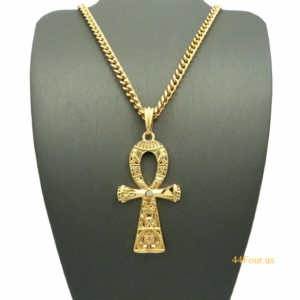 "ANKH CROSS w/5mm 24"" CUBAN LINK"