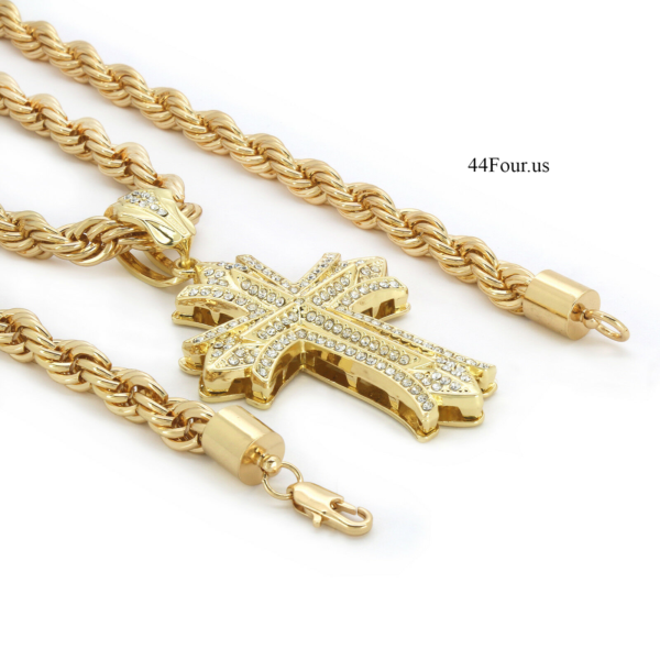 "Iced Out Jesus Cross w/24"" Rope Chain"