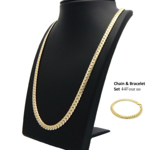 14k Stamped Miami Cuban link Chain And Bracelet Set