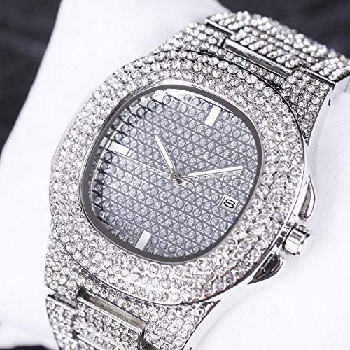 Iced Out Watch, Necklace, Bracelet, Ring Set