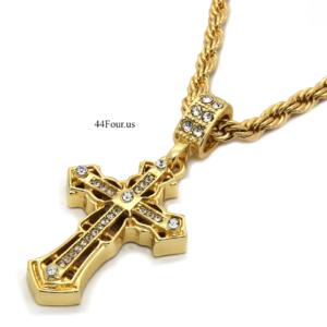 "Spear Edge Cross w/24"" Rope Chain"