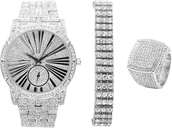 Tennis Bracelet Bling-ed Out Watch And Ring